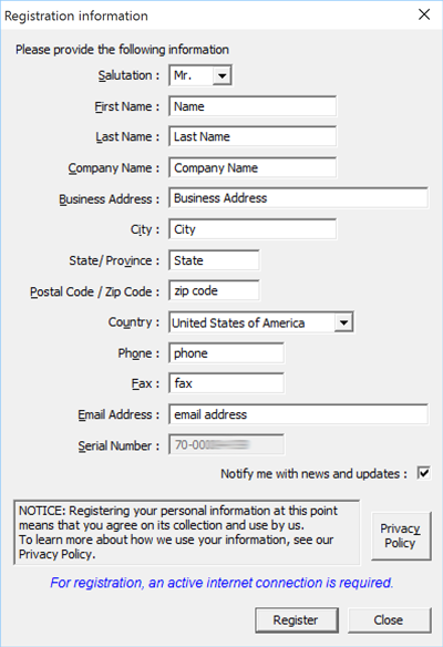 Register eXPerience software