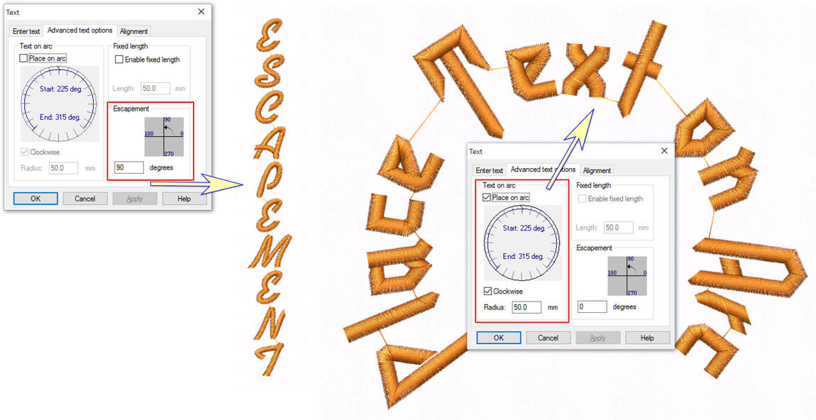 Use Escapement to type words vertically, or to rotate each letter of the word