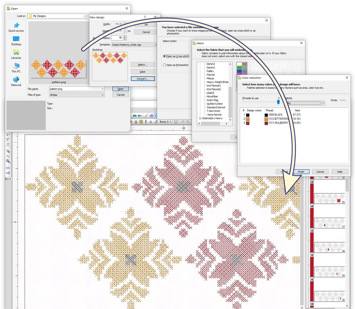 Convert image to Cross-stitch design automatically