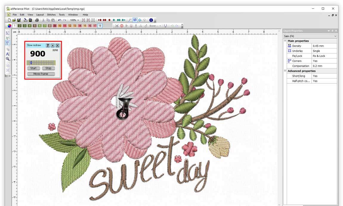 Simulate the sew out process with slow redraw tool