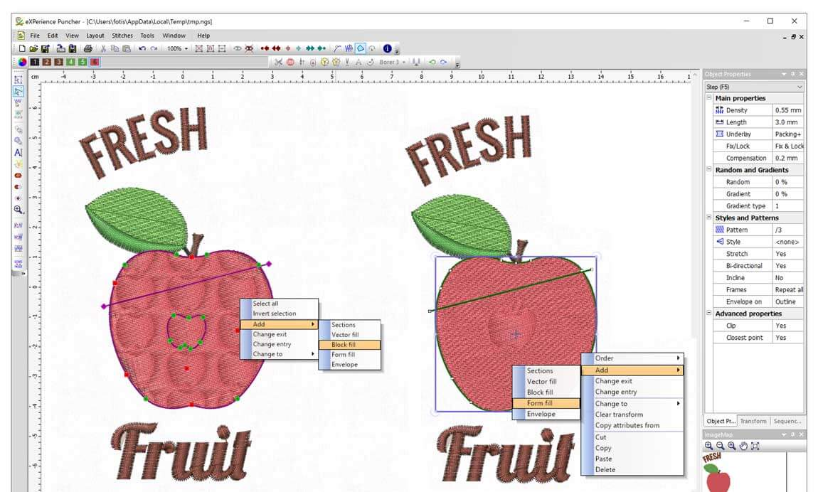 Add Vector fill - Block fill - Form fill Effect in Satin/Step objects