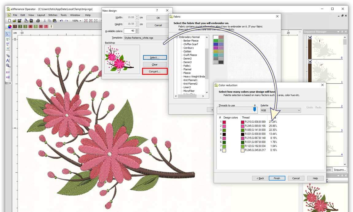 Convert Vector (.cmx, .svg etc.) images into editable embroidery designs