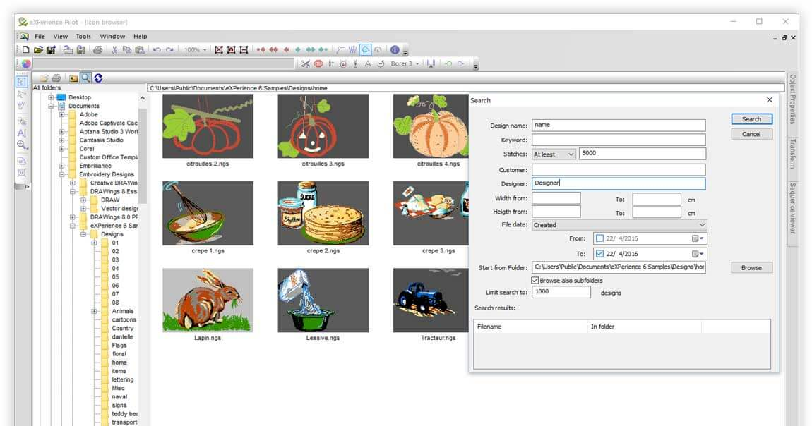 Embroidery file browser