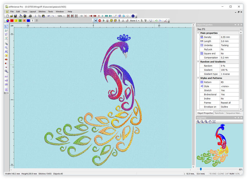 New Features - Wings' XP - eXPerience 6 embroidery software