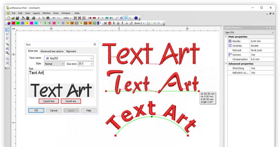 Add text with a click, by placing it on a 2 point line or on an 3 point Arc